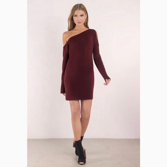 cbf28f1535c7 Olivia Wine Cold Shoulder Sweater Dress